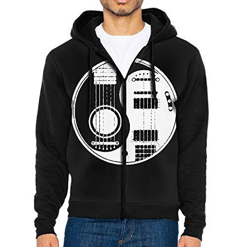 Acoustic Electric Guitars Yin Yang Men's Custom Full-Zip Hoodie with Pocket Hooded -