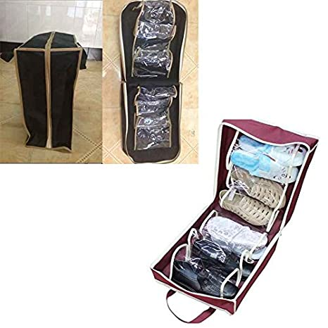Omkuwl Portable Shoe Box Non-Woven Folding Travel Shoes Storage Shoes Organizer Bags black