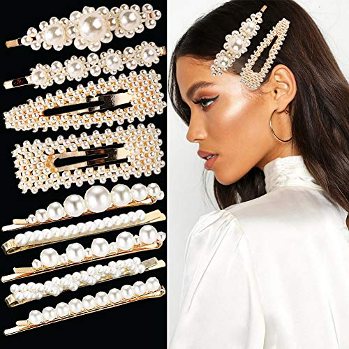 9Pcs Pearl Hair Clips for Girls Women Artificial Pearl Hair Pins Big Snap Hair Barrettes Trendy Alligator Clips Decorative Bobby Pins Hair Accessories for Party Wedding Daily Gift
