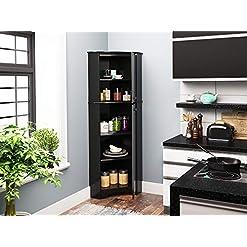 Home Bar Cabinetry Prepac Elite Corner Storage Cabinet, Tall 2-Door, Black home bar cabinetry