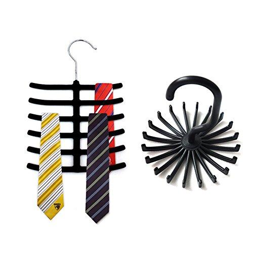 Tie Rack Belt Hanger Holder Hook for Closet Organizer Storage, 2 Different Style Racks for Scarves, Belts and Ties, Pack of 2 (Black)
