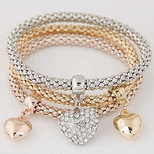 3PCS Set Crystal Bracelets & Bangles Gold Wrap Charm Bracelets For Women Men Jewelry Multilayer Bijoux heart