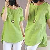 Women's Blouse, Shubuy Ladies Summer Casual Short Sleeve Loose T Shirt Cotton Linen Blouse Tops Shirts (3XL, Green)