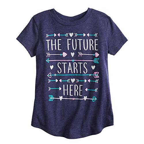 Jumping Beans Little Girls' 4-12 The Future Starts Here Tee 8 Heather Peacoat from Jumping Beans