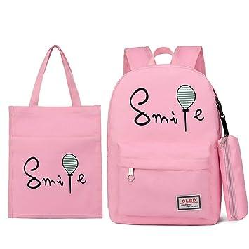 Mochila escolar Sonrisa y estampado de globos 3 piezas Mochilas para adolescentes para adolescentes 3 en