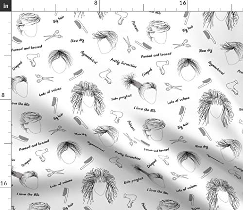 Hairdresser Fabric - Salon 80S 80S Hairstyle Hair Hairstyle Big Hair by Julia Diane Printed on Cotton Poplin Ultra Fabric by The Yard