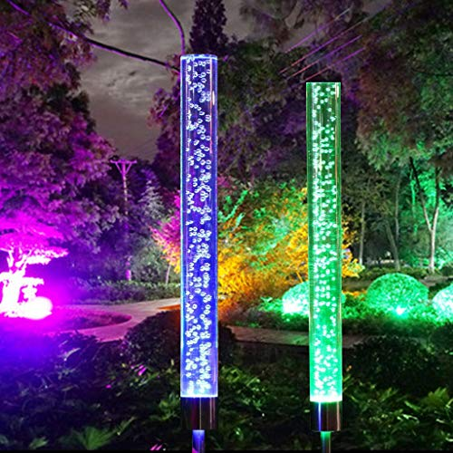 Chezaa 2 Pcs Solar Lights Outdoor Waterproof LED Light Decorative Acrylic Bubble RGB Color Changing Solar Powered for Garden Patio Backyard Pathway Decoration (A)