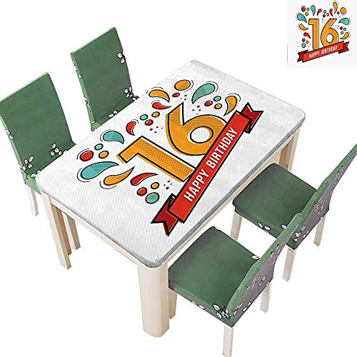 (SpillProof Tablecloth Festive New Age Modern Invitation Funky Teen Typography Artwork for Picnic,Outdoor or Indoor 50 x 72 Inch (Elastic Edge))