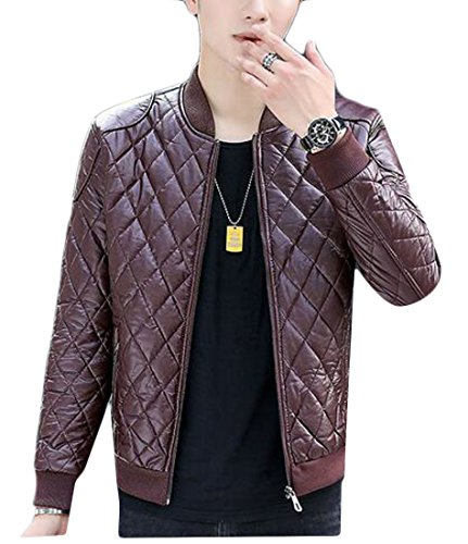 Moto Outwear UK Zip Leather Jacket today 2 Mens Pu Quilted Collar Warm Stand Pn6T06qz