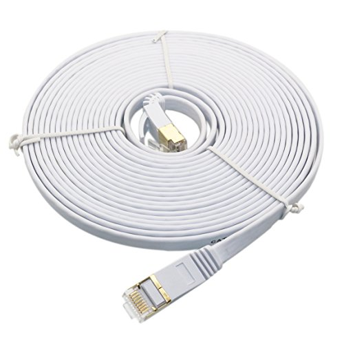 Cat 7 Ethernet Cable 30 ft, Cat 7 Flat High Speed LAN Network Patch Cable Cord with Gold-Plated RJ45 Connectors for Xbox One, Play Station,IP Cameras,Switch, Router, Modem and more White (Support Dynamic Ip)