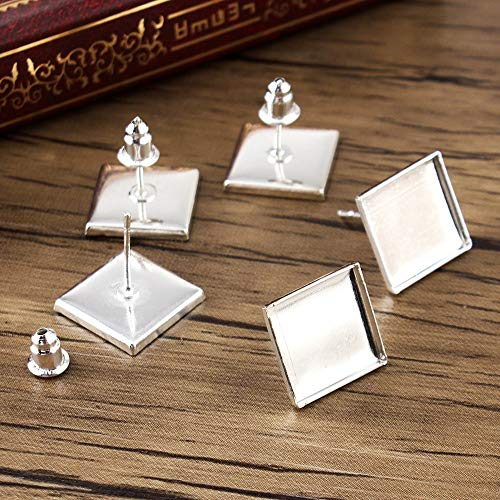 Laliva Accessories - 30pcs 12mm Silver Plated Earring Base Studs Copper Square Ear Cameo Settings Cabochon Base Tray Blank (with Bullet Back)