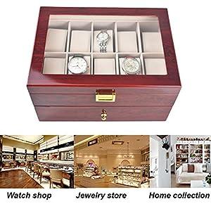 iHotools Wooden Watch Box/Watch Organizer– 20 Slot Luxury Cherry Wood Design Display Box/Case, Large Holder, Metal Buckle