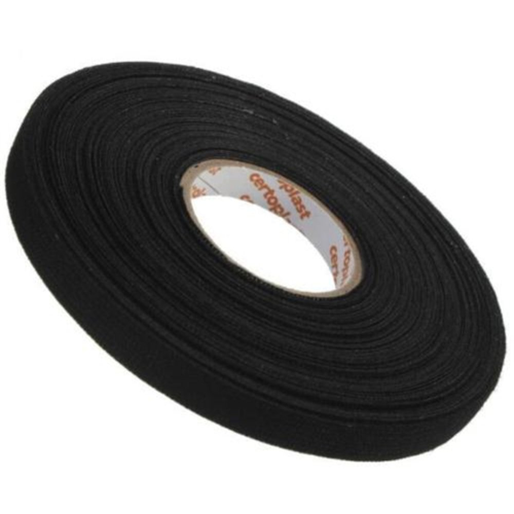 15m x 9mm x 0.3mm Black Adhesive Cloth Fabric Tape Cable Looms Wiring Harness *