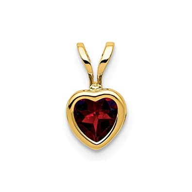 f46c20831 14k Yellow Gold 5mm Heart Red Garnet Bezel Pendant Charm Necklace Gemstone  Love Ful Fine Jewelry Gifts For Women - Valentines Day Gifts For Her: ICE  CARATS: ...