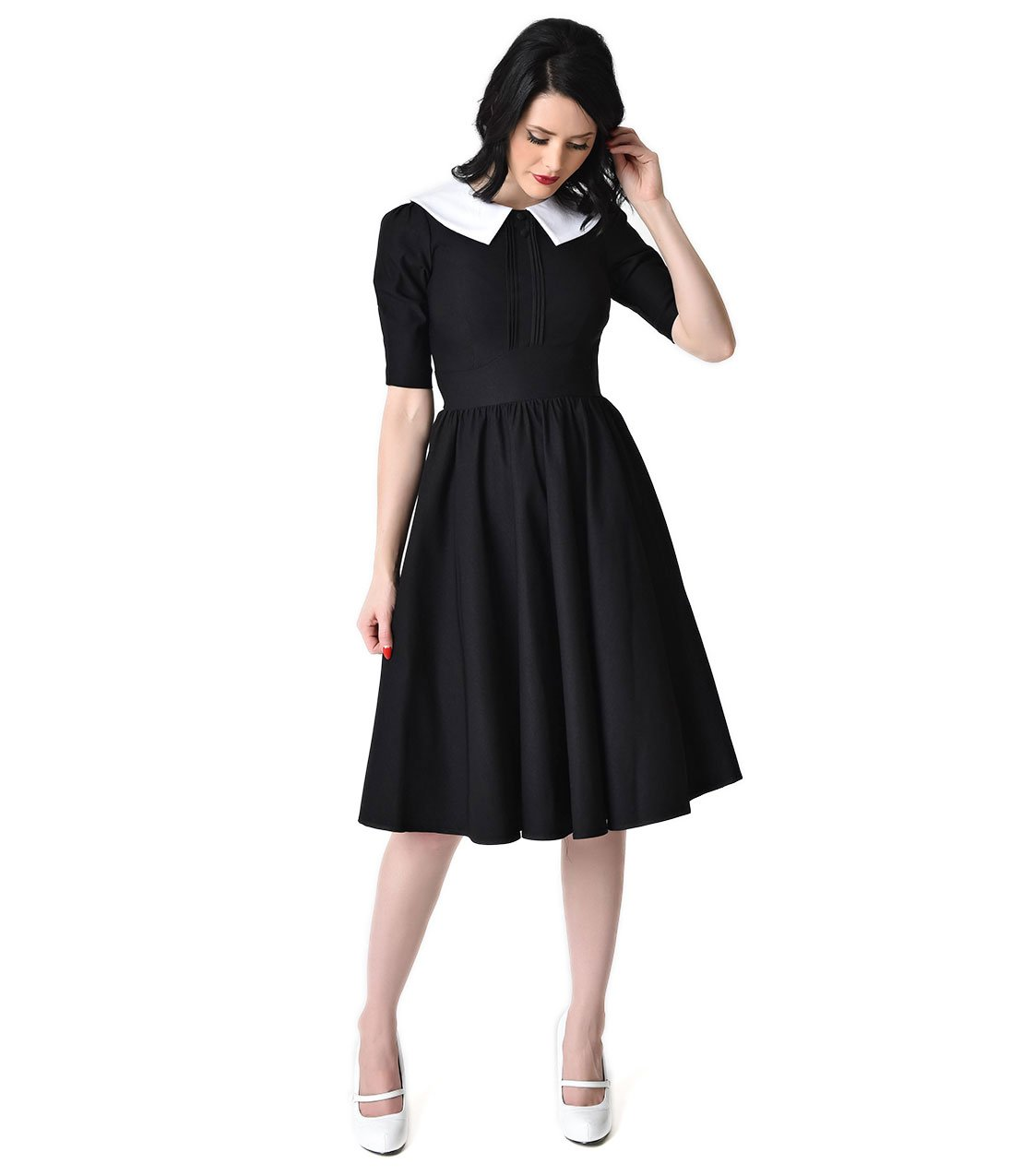 Stop Staring! 1950s Style Black Half Sleeve Almira Swing Dress by Unique Vintage