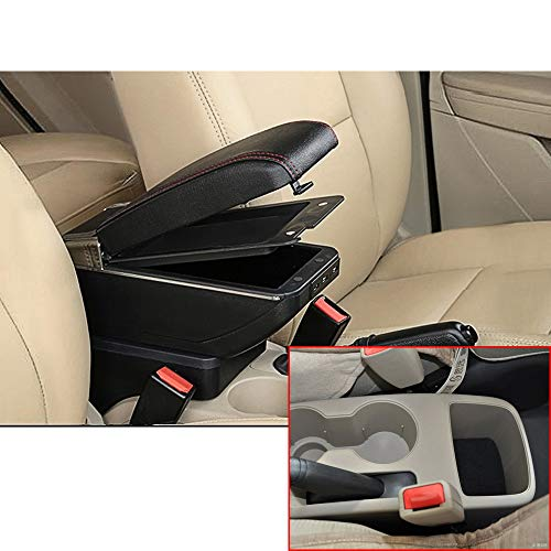 (MyGone Car Center Console Armrest for Hyundai Accent Solaris 2011-2016 2012 2013 2014 2015 Storage Box Accessories, Arm Rest, Built-in 7USB Ports, with Cup Holder, Removable Ashtray, Black Red)