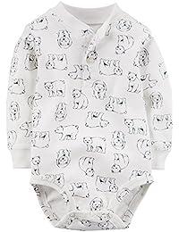 Baby Boys' L/S Henley Tee Bodysuit (12M, Ivory)