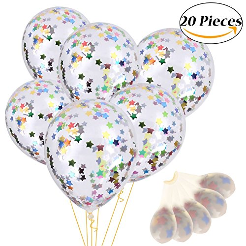 Onshine 12 Inch Confetti Balloons 20 Pcs Premium Color Balloons Filled with Bright Rainbow Pentagram Confetti for Party Wedding and Festival Decoration Creating Happy - Bright Rainbow