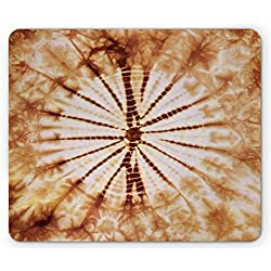 Lunarable Nature Mouse Pad, Close Shot of Nature Inspired Morphing Psychedelic Color Expansion Pattern Print, Standard Size Rectangle Non-Slip Rubber Mousepad, Orange Brown