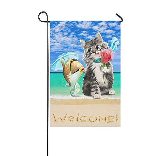 - BoloHome Cat and Fish on Tropical Beach Double Sided Garden Flag Banner 12 x 18 inch, Summer Blue Sky with Welcome Decorative Yard Flag for Party Home Outdoor Decor, 100% Polyester