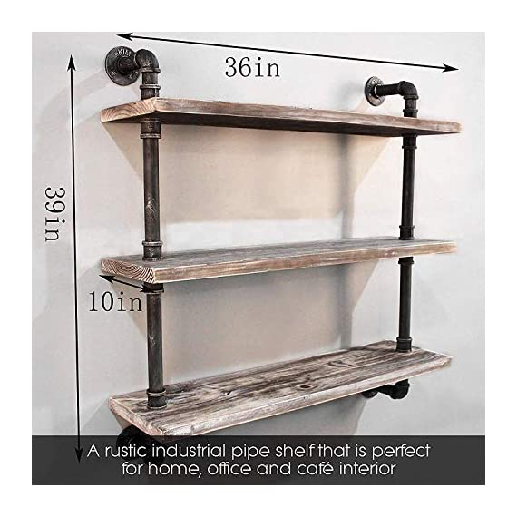 "Diwhy Industrial Pipe Shelving Bookshelf Rustic Modern Wood Ladder Storage Shelf 3 Tiers Retro Wall Mount Pipe Dia 32mm Design DIY Shelving (Silver, L 36"") - 【Retro Style】:Rustic industrial pipe shelf in black finish.Iron pipes and reclaimed real wood composition in vintage style.Storage and decorations.It can also be used outdoors.Extensively anti-rust treatment. - Electroplated finish. 【Size】:Made from quality metal pipe and pine wood. Overall size: length 36in x depth 10in x height 39in.Board size: length 36in x depth 10in x thickness 1.18in.Water pipe diameter: 1.26in, Overall Product Weight:33 lb . 【Multi-functional】:The floating shelves are versatile, such as bathroom accessories, towel holder, bookcase, spice racks. - wall-shelves, living-room-furniture, living-room - 513AMXJRYEL. SS570  -"