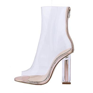 AIYOUMEI Damen Peep Toe Blockabsatz Transparent Sandalen mit 10cm Absatz Sommer Stiefel Schuhe