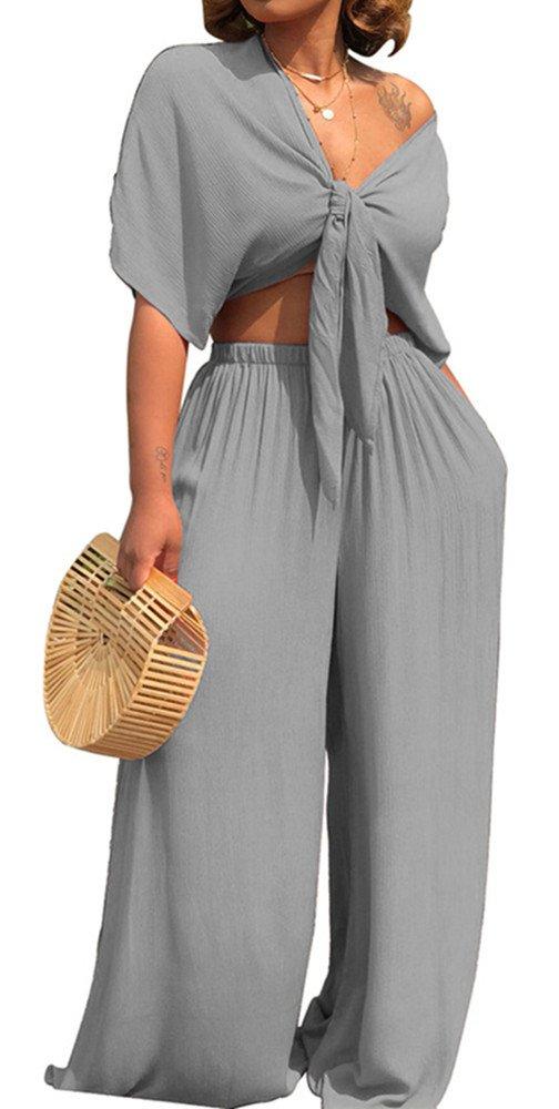 ENLACHIC Women Summer Solid Short Sleeve Wide Leg Jumpsuit Casual Long Pants Rompers,Grey,XL