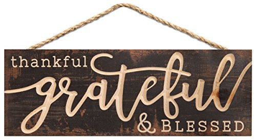 (P. Graham Dunn Thankful Grateful Blessed Weathered Brown 16 x 6 Inch Pine Wood Carved Hewed Hanging)