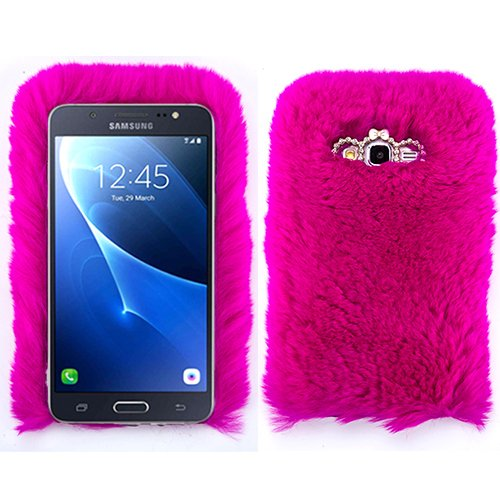 huge sale 9c173 2a2c0 for Samsung Galaxy J3 2017 Hot Pink Fur Furry Fluffy Case Soft Cover with  Free Pouch