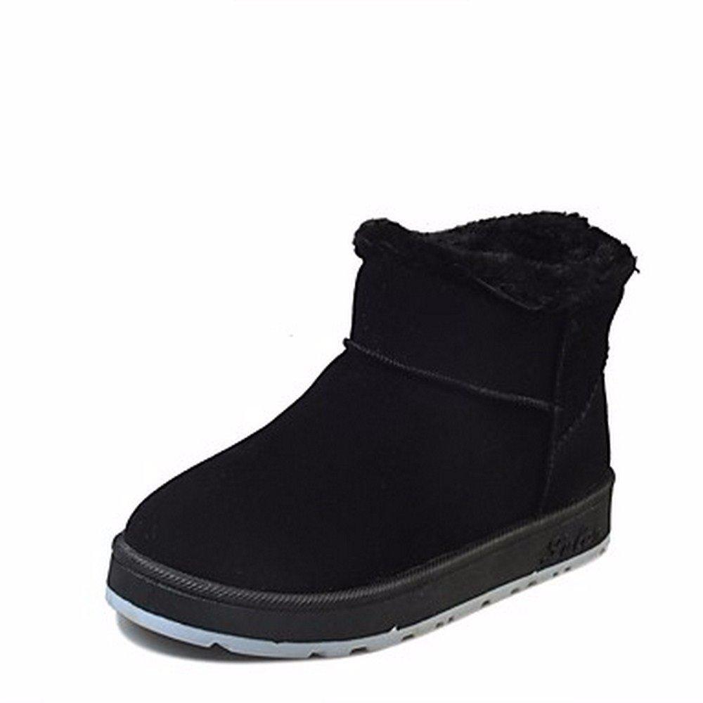 ZHUDJ Scarpe Donna Autunno Inverno Snow Boots Stivali Tacco Piatto Punta Tonda Per Casual Viola Verde Nero Grigio Black