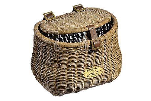 (Nantucket Bicycle Basket Co. Madaket Creel Front Bicycle Basket with Lid, Natural Gray)