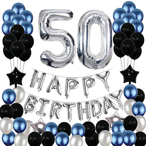 50th Birthday Decorations,50 Birthday Balloons Party Supplies Happy 50 Birthday Banner Blue and Silver Black Foil Star Balloons for Women Men(81PCS) -