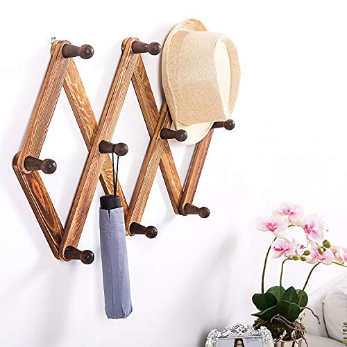 10 Peg Wooden Expandable Coat Hanger, Wall Mounted Accordion Storage Rack Pine Wood Hook for Hanging Hats, Caps, Mugs, Coats, Sweaters, Jackets, Walnut Color on Hallway Bathroom Living Room Kitchen