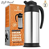 thermal coffee carafe black - ChefGiant Coffee Carafe 33 oz, Coffee Thermos Set of 2, Coffee Server Vacuum Insulated Stainless Steel Carafe, Hot Beverage Dispenser, Water Carafe, Black & Silver Thermal Coffee Carafe,Double Wall