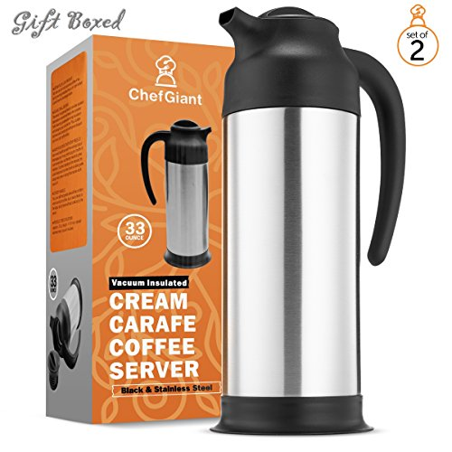 ChefGiant Thermal Carafe,33 oz(Set of 2)Coffee Thermos,Double Wall for Hot & Cold Beverage Server,Vacuum Insulated Water Dispenser,Slim Design for Easy Handle & Travel,Silver & Black-Commercial Grade (Creamer Double)