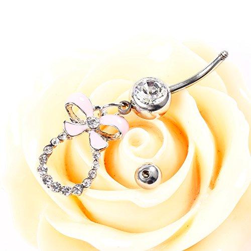 bodya Piercing Bijoux de corps acier inoxydable Bar 14g Brillant oxyde de zircon rose n?ud en émail pour piercing pour nombril