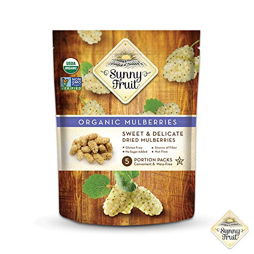 ORGANIC Turkish Dried Mulberries - Sunny Fruit - (5) 1.06oz Portion Packs per Bag   Purely Mulberries - NO Added Sugars, Sulfurs or Preservatives   NON-GMO, VEGAN & HALAL (Pack of 1)