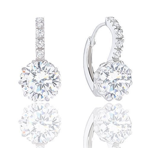 18k Gold Plated Solitaire Cubic Zirconia Leverback Earrings (5.00 (18k Gold Plated Solitaire)