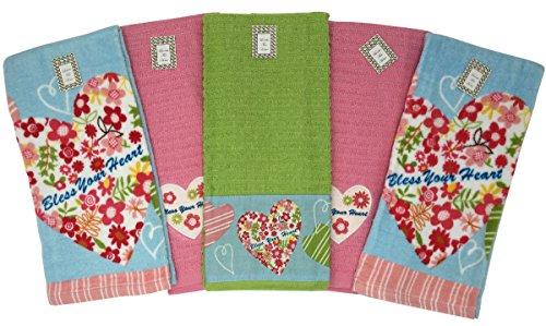 Bless Your Heart 5 Piece Absorbent Cotton Kitchen Dish Towel Set, 6718, 27x16