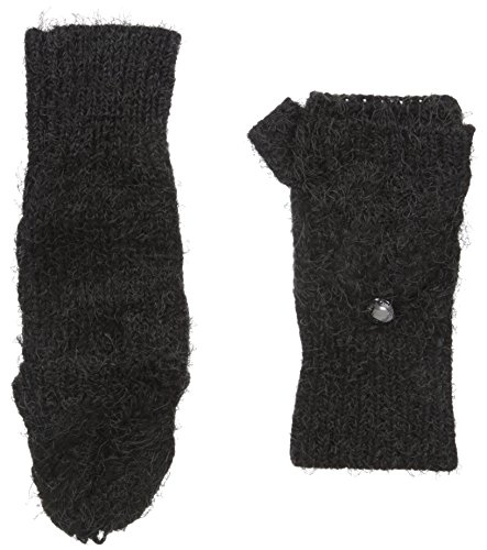 Calvin Klein Women's Fuzzy Cable Pop Top Mitten, Black, One Size