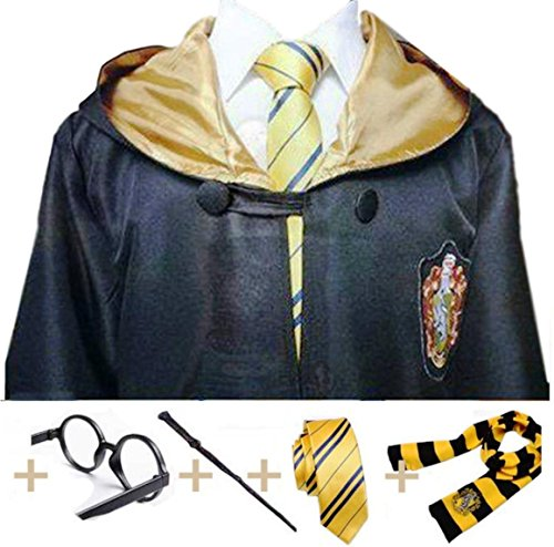 Main Street 24/7 Hufflepuff Cosplay with Robe, Wand, Glasses, Tie and Scarf Mult. Sz (Medium) ()