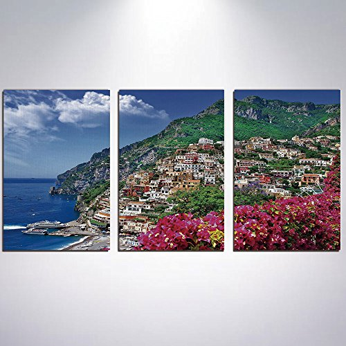3 Panel Canvas Prints Wall Art for Home Decoration Italy Print On Canvas Giclee Artwork For Wall DecorScenic View of Positano Amalfi Naples Blooming Flowers Coastal Village Image-Pink (View Art Wall Coastal)