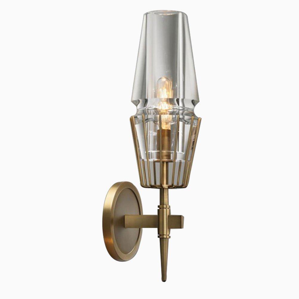 BIN Applique A Luce Diretta in Vetro A Doppia Testa con Applique A Parete in Ottone Testa E14,Purecopper,Singlehead