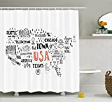 Ambesonne USA Map Shower Curtain by, United States of America City Typography Pattern with Local Figures Concept, Fabric Bathroom Decor Set with Hooks, 70 Inches, Grey Coral White