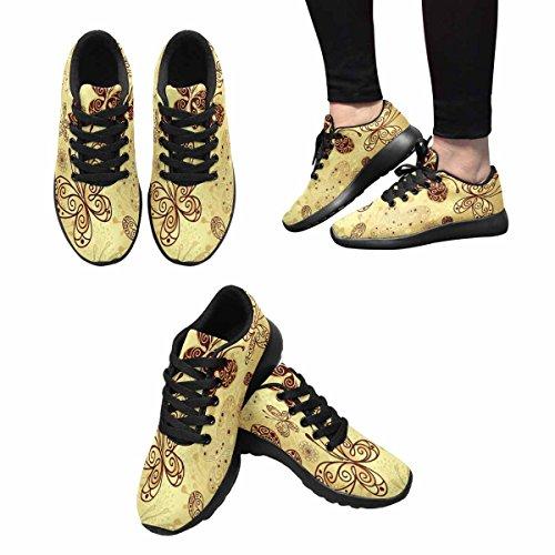 Interestprint Mujeres Casual Soft Sports Road Running Zapatos Para Caminar Patrón Oro Y Marrón Con Encaje Mariposas Multi 1