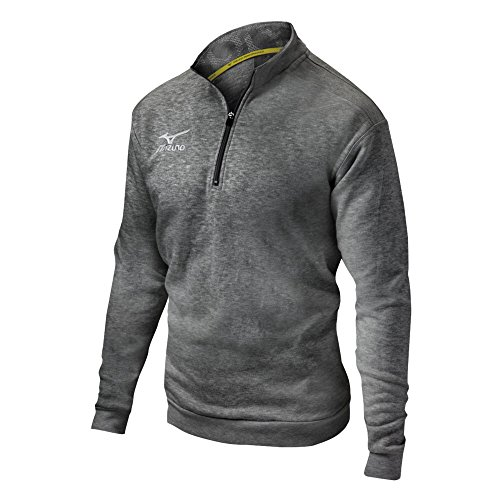 Mizuno 1/2 Zip Fleece Pullover, Heathered Charcoal, Large