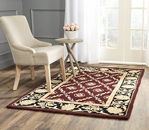 8' Naples Collection Rug (Safavieh Naples Collection NA521B Handmade Burgundy and Black Wool Area Rug, 5 feet by 8 feet (5' x 8'))