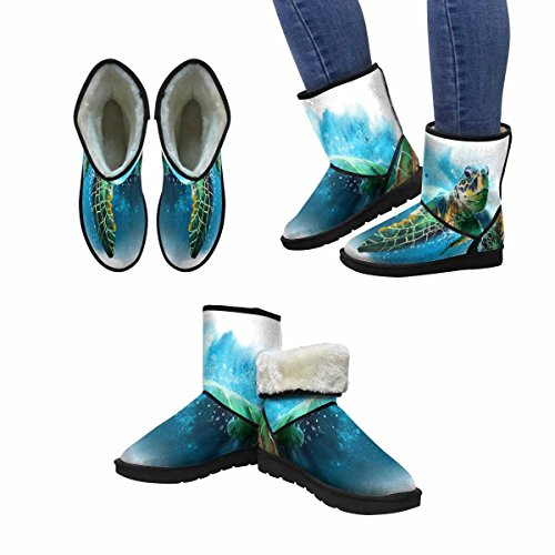 Interestprint Mujeres Snow Botas Big Sea Turtle Pintura De Acuarela Unique Designed Comfort Botas De Invierno Multi 1
