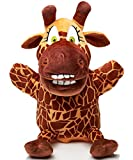 KIDS BRIGHT TOYS Hand Puppet and Plush Toy 2in1 - With Movable Open Mouth and Velcro Pocket - 10'' Sisi the Giraffe (Giraffe)