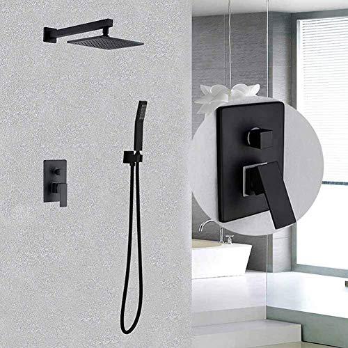 (Shower System Contemporary Solid Brass Wall Mount Rainfall Shower Set Bath Spout Black Shower System Copper Concealed Bath Shower Set)
